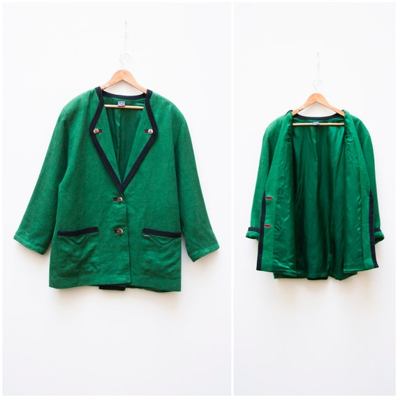 Linen Jacket Women Large Vintage Green Linen Jacke