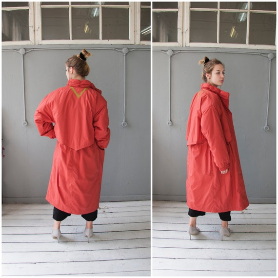 80s Oversized Coat Women M Long Puffer Coat 80s Ba