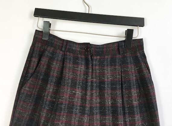 Plaid Pants Women Medium 80s Checked  Baggy Pants… - image 5