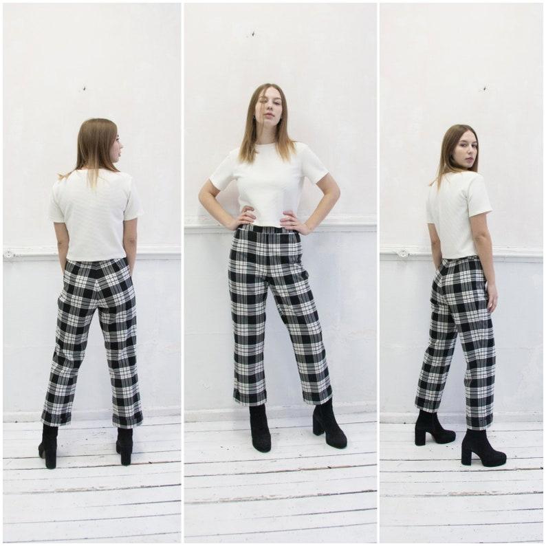8d927312ba Vintage 90s Plaid Pants Checked Mom Pants Womens XS High   Etsy