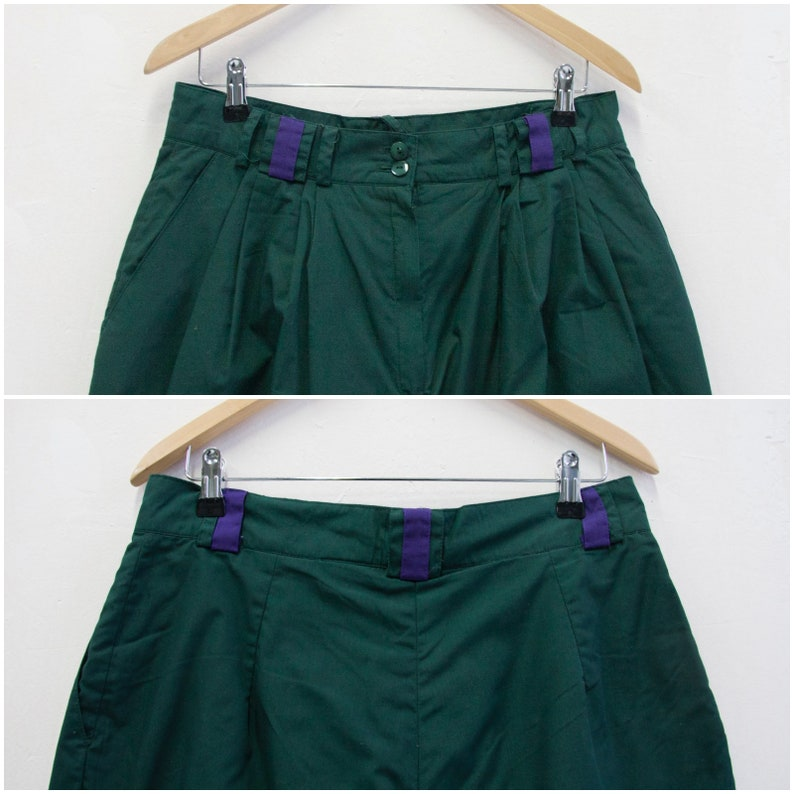 Vintage 80s Boyfriend Pants High Waisted Trousers 32 Womens L Dark Green Baggy Pants Tapered Leg Trousers Mens 32 Baggy Pants High Rise W32