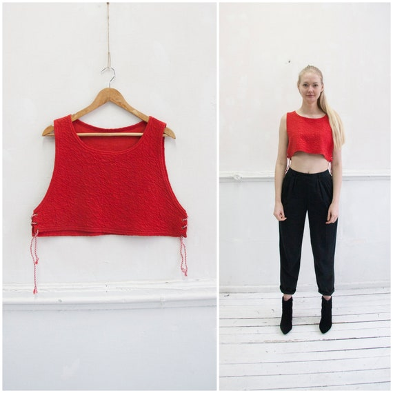 Vintage 90s Crop Top Cropped Tank Top Womens S M S
