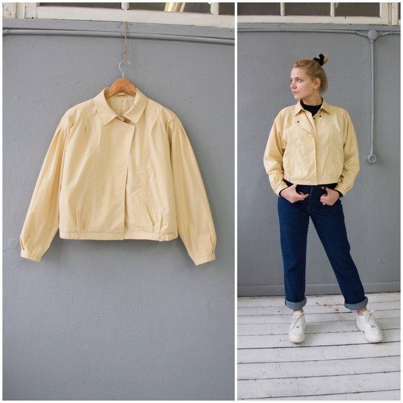 135ba89b0 Vintage 80s Bomber Jacket Womens M Petite Cropped Jacket Pastel Yellow Boxy  Jacket Oversize Bomber Jacket 90s Baggy Crop Jacket Womens S M
