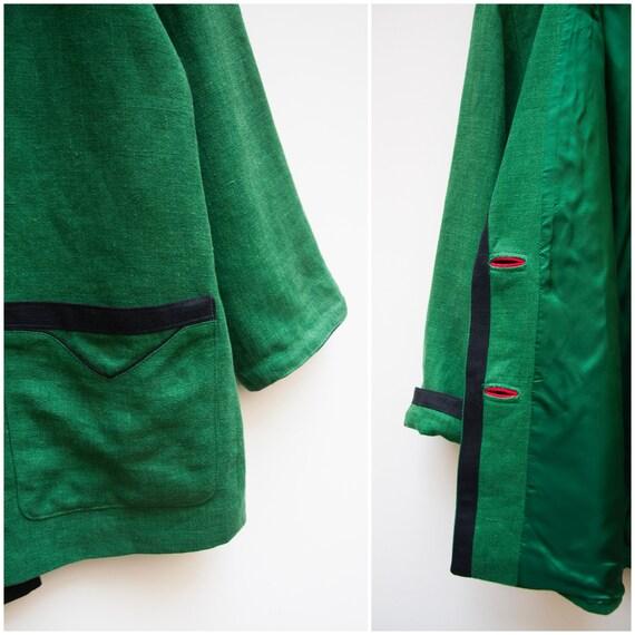 Linen Jacket Women Large Vintage Green Linen Jack… - image 8