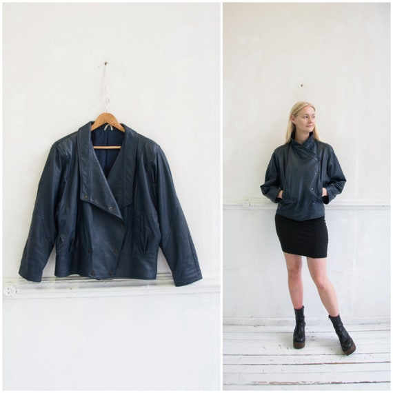 Vintage Leather Jacket Womens S 80s Leather Jacket