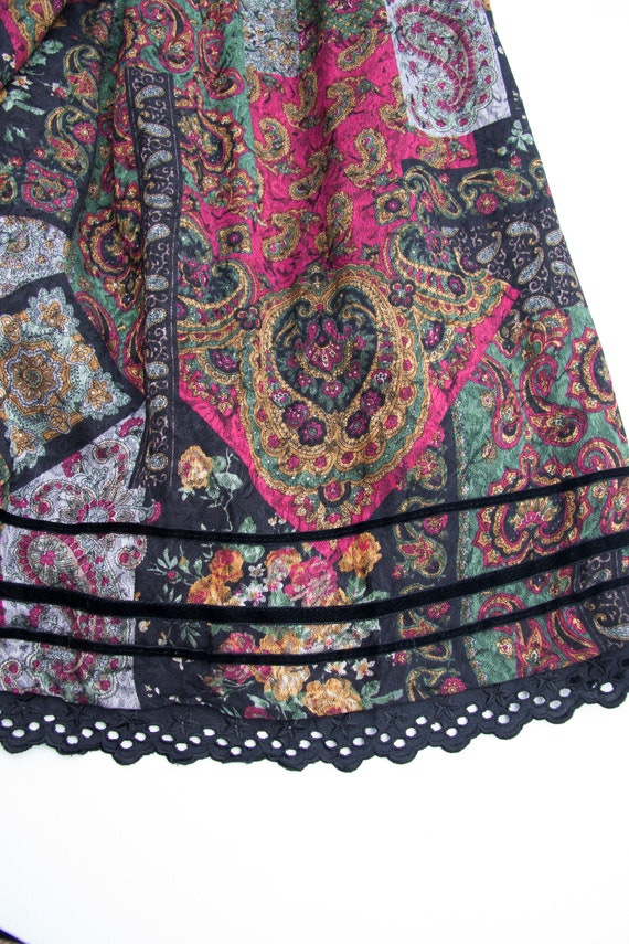 Vintage Boho Skirt Small Medium Gypsy Skirt Dark … - image 7