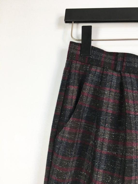 Plaid Pants Women Medium 80s Checked  Baggy Pants… - image 7