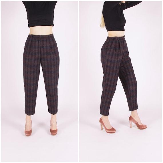 Plaid Pants Women Medium 80s Checked  Baggy Pants… - image 1