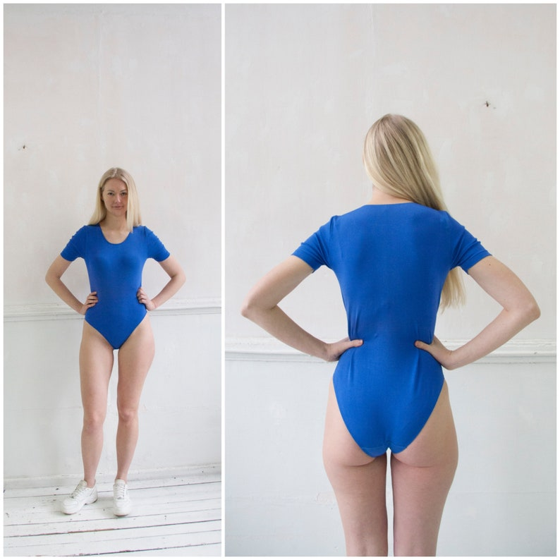 Vintage 90s Bodysuit Blue Bodysuit Womens XS S Snap Crotch T Shirt Short Sleeve Blue Leotard Snap Crotch Fitted Tee Stretch Body Top XS S