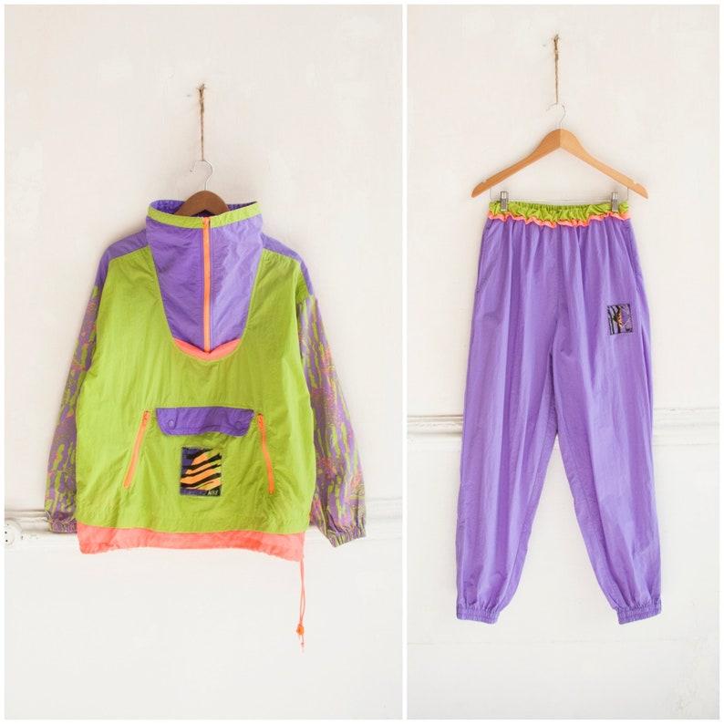 295bd2b285 Vintage Nike Tracksuit 80s Neon Tracksuit Womens M L Neon Windbreaker Nike  Jacket Pants Anorak Color Block Windbreaker Tracksuit Bottoms M L