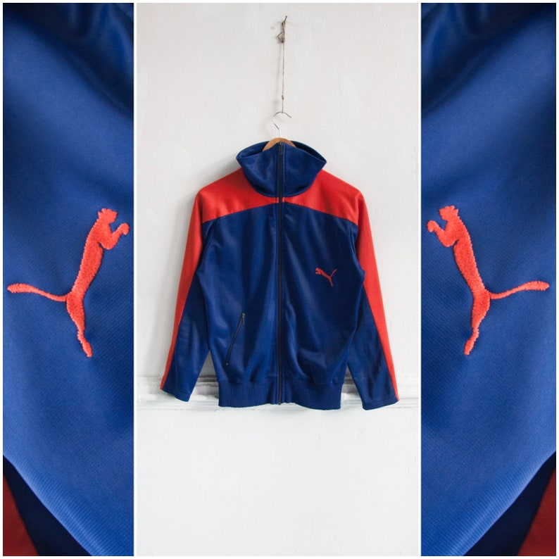 c25184c7c Vintage Puma Jacket 70s 80s Puma Track Jacket Mens XS Puma Tracksuit Top  Womens S Blue Red Colorblock Athletic Jacket Retro Sports Jacket S