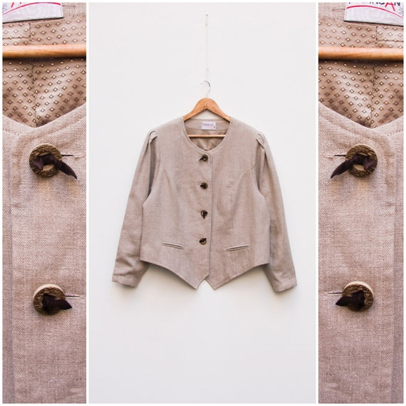 Linen Jacket Women Large Vintage Linen Jacket Dirn
