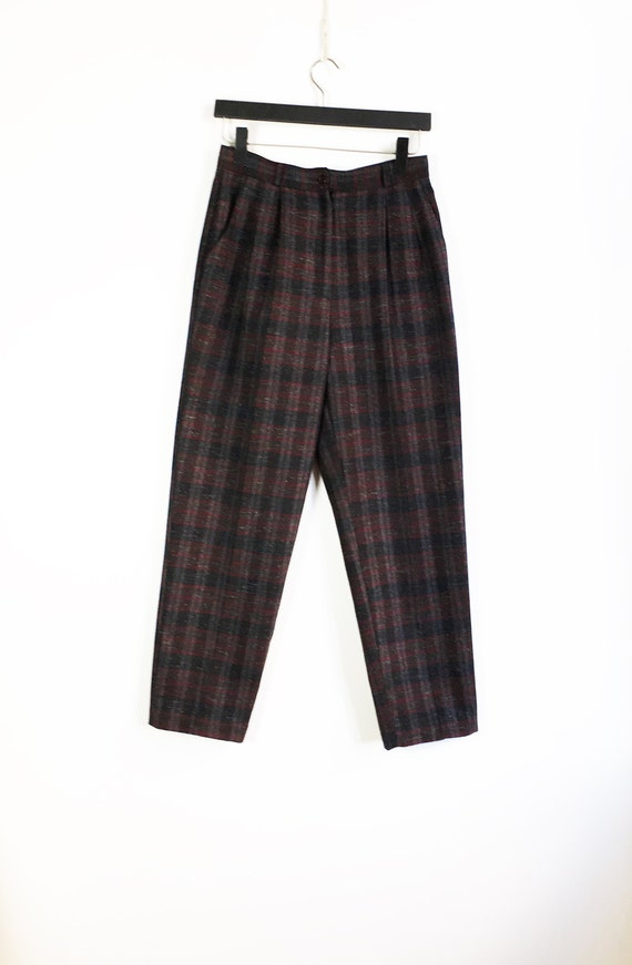 Plaid Pants Women Medium 80s Checked  Baggy Pants… - image 4
