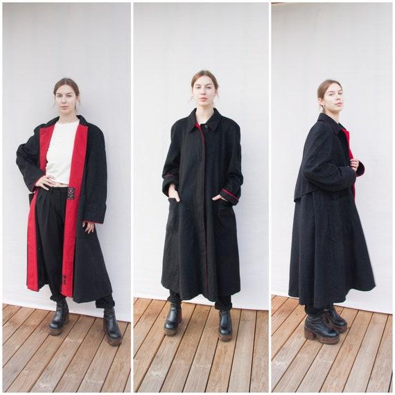 Vintage Coat Women Large Long Oversized Coat Ankle