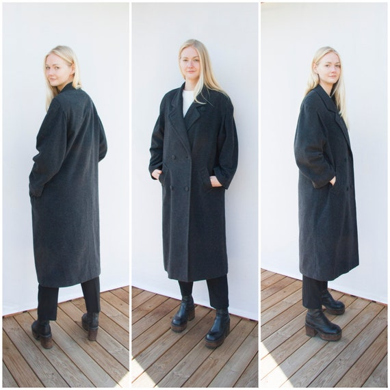 Vintage Coat Women Large Oversized Coat Long Wool