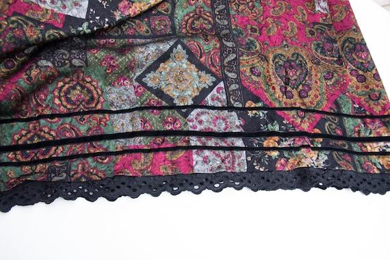 Vintage Boho Skirt Small Medium Gypsy Skirt Dark … - image 9