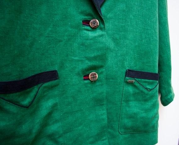 Linen Jacket Women Large Vintage Green Linen Jack… - image 5