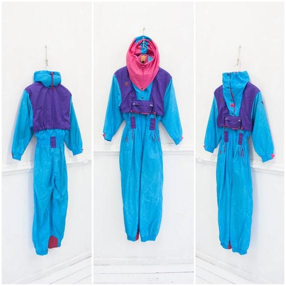 Womens Snow Suit One Piece >> Vintage 80s Ski Suit One Piece Ski Suit Neon Snow Suit Womens Xxs Xs Skiing Outfit 80s Ski Wear Neon Blue Ski Coveralls Snowboard Suit Xxs