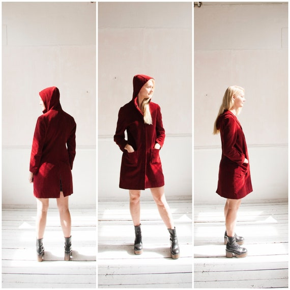 Corduroy Coat Women XS Red Corduroy Coat 90s Cordu