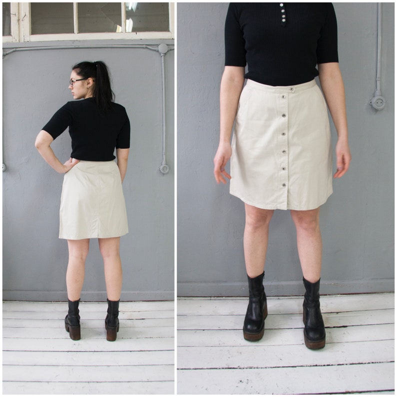 45690435a8 Vintage Eddie Bauer Skirt 90s Nude Mini Skirt S Above Knee | Etsy