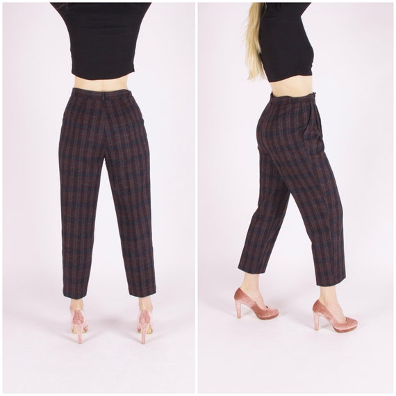 Plaid Pants Women Medium 80s Checked  Baggy Pants… - image 2