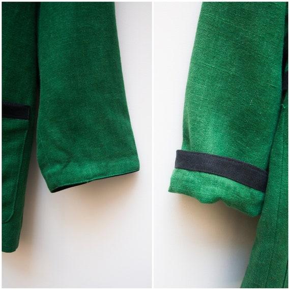 Linen Jacket Women Large Vintage Green Linen Jack… - image 9