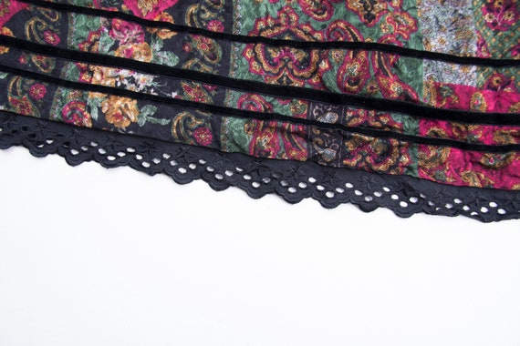 Vintage Boho Skirt Small Medium Gypsy Skirt Dark … - image 8