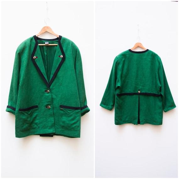 Linen Jacket Women Large Vintage Green Linen Jack… - image 3