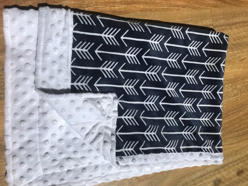 Navy Arrows Luxury Minky Baby Pram Blanket