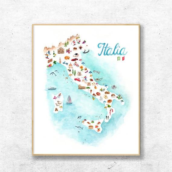 Italia Watercolor Italy Home Decor Wall Decor Gift Idea Italian Symbol