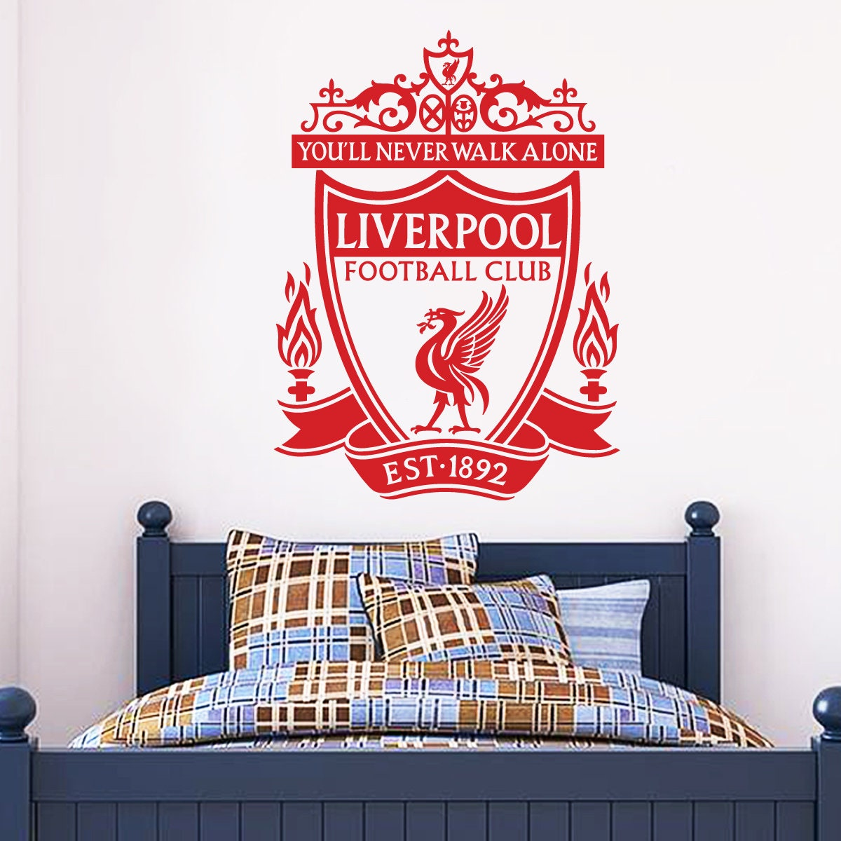 771d4eb98bf Liverpool Football Club One Colour Crest Wall Decal LFC   Etsy