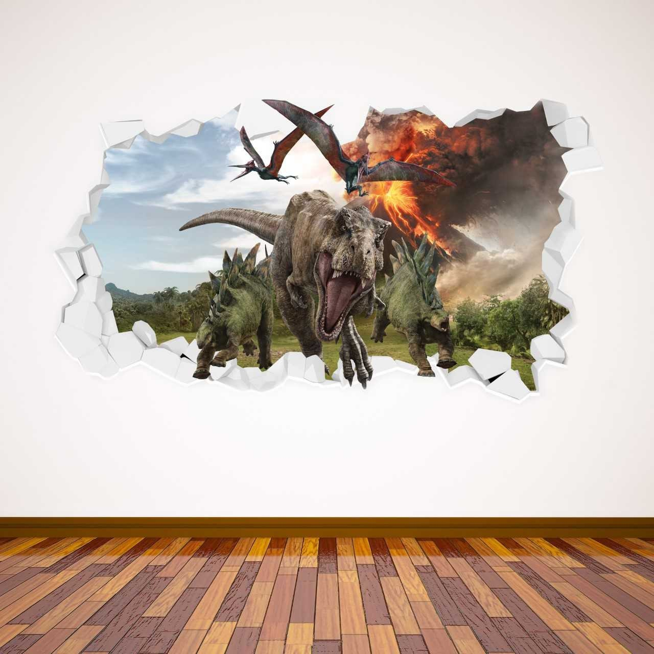 VOLCANO DINOSAURS WALL STICKER DECAL jurassic wall mural NURSERY quote d6