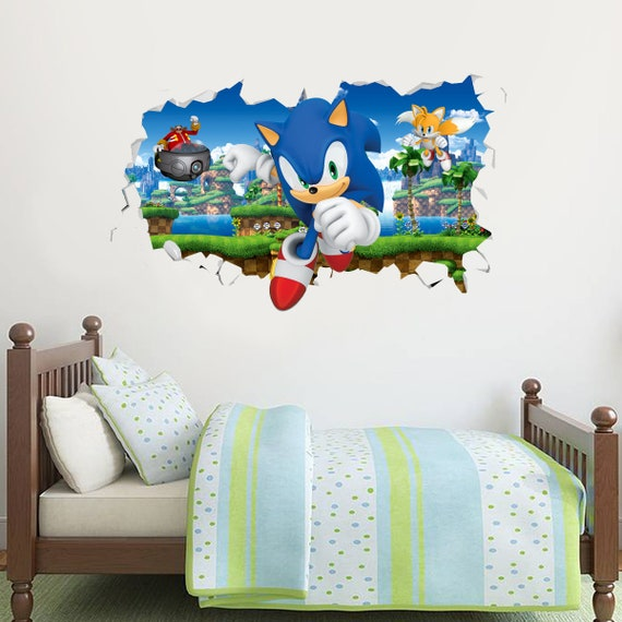 Sonic The Hedgehog,3D,Sticker,Decal,Bedroom,Kids,Sonic,Wall Art,Mural