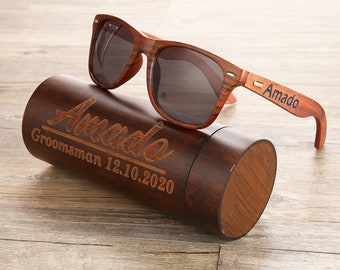 Personalized Walnut Wooden Sunglasses, Wooden Cylinder Sunglasses Box, Engraved Unisex Sunglasses, Wooden Box, Mens Gift, Groomsmen Gift
