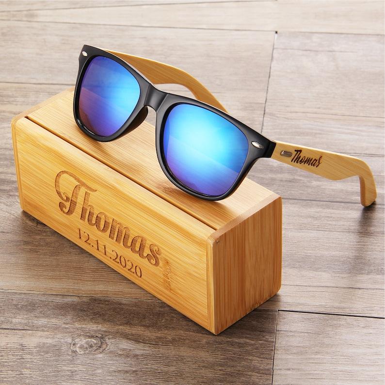Personalized Wooden Sunglasses Engraved Unisex Sunglasses image 0