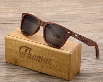 Personalized Walnut Wood Wooden Sunglasses, Engraved Unisex Sunglasses, Wooden Box, Mens Gift, Groomsmen Gift, Bachelorette Sunglasses