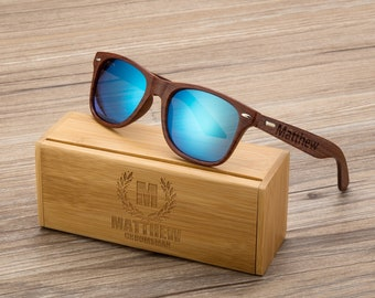 Personalized Walnut Wood Wooden Sunglasses, Engraved Unisex Sunglasses, Wooden Box, Mens Gift, Groomsmen Gift, Groomsmen Sunglasses