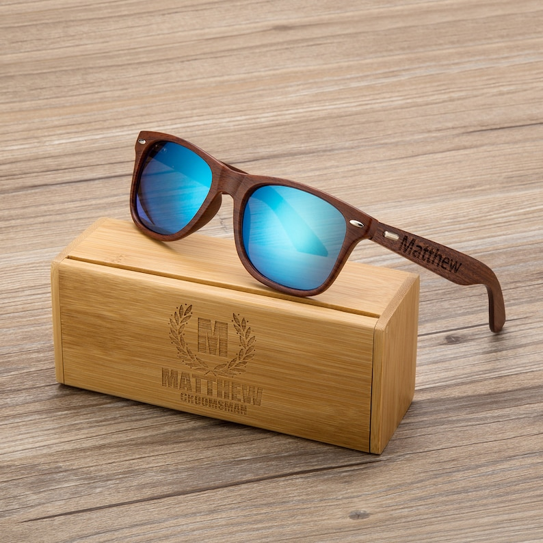 5818a8525ec Personalized Walnut Wood Wooden Sunglasses Engraved Unisex
