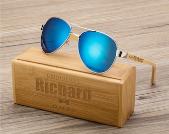 Personalized Wooden Sunglasses, Engraved Unisex Sunglasses, Optional Wooden Box, Mens Gift, Groomsmen Gift, Bachelorette Sunglasses