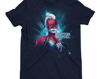 d24b3766feb Captain Marvel Neon Men s Navy T-Shirt