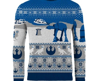 star wars mens knitted blue medium christmas jumper