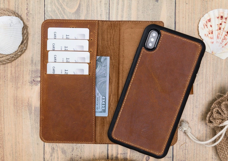 outlet store d14cf 9f294 Leather iPhone X Case Wallet, Personalized iPhone X Wallet Case, Handmade  Brown iPhone X Cover for Women and Men