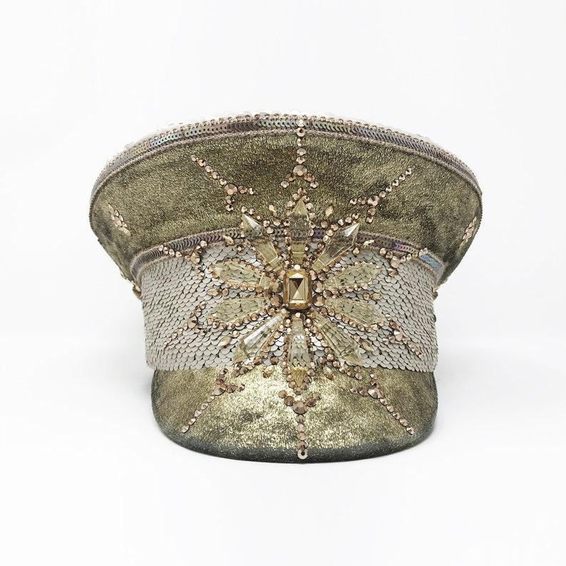 71e759d04 Wanderlust Captain Hat, Festival hat, Sequin hat, Gold, Hand embellished,  Coachella, Glastonbury, Ibiza, Party hat,