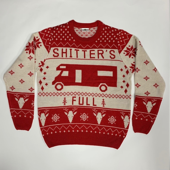 Christmas Vacation Shitter's Full Ugly Christmas Sweater Red