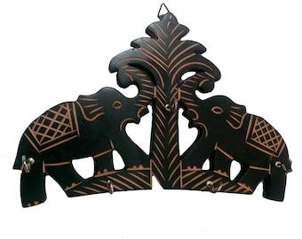 Wall Mounted Wooden Handmade Elephant Carving Key Holder 4 Key Hooks 5.5 Inch