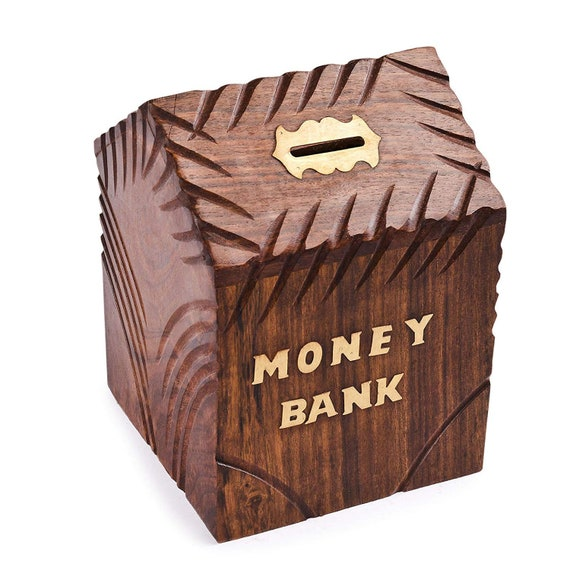 WhopperIndia Wooden Handmade Coins Storage Money Bank with Carving Work Piggy Bank for Kids 4 X 4 Inch