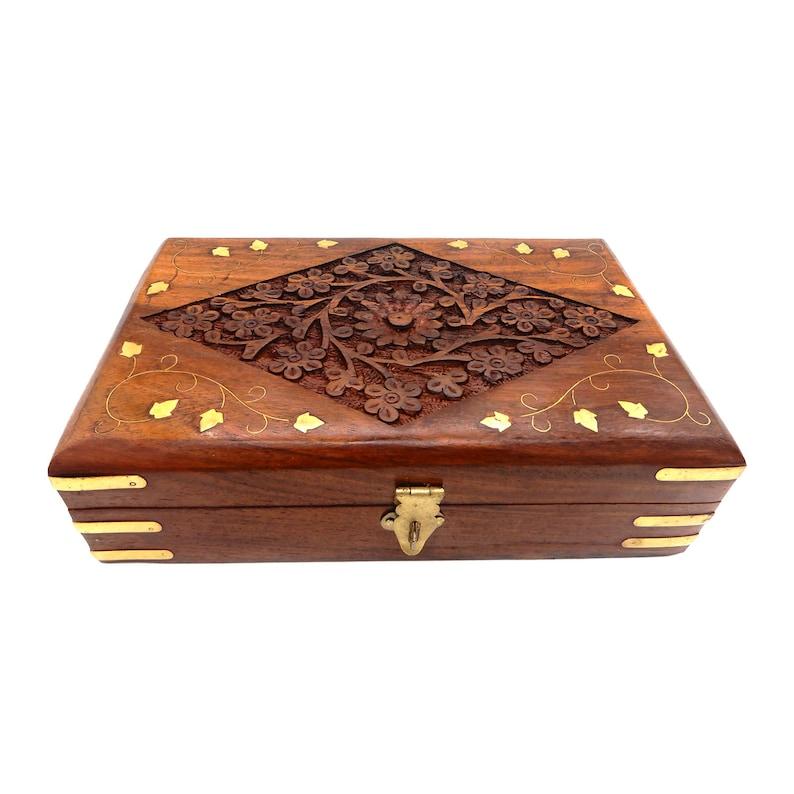 Wooden Keepsake Box Jewelry Trinket Storage Organizer Handmade Elephant Motif