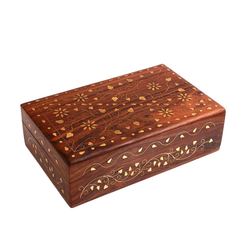 Whopper Hand Carved Wooden Trinket Jewelry Box with Mughal Inspired Brass Inlay /& Velvet Interior Perfect for Store Jewelry and Personal