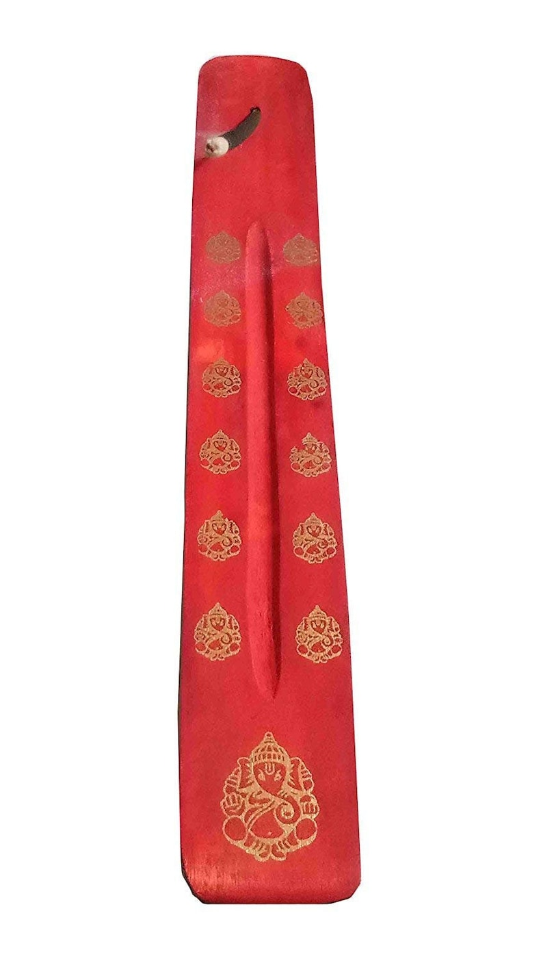 with Ganapati Statue Design on it Handmade 10 Inch Whopper Set of 2 Incense Burner Traditional Incense Stick Holder color Red