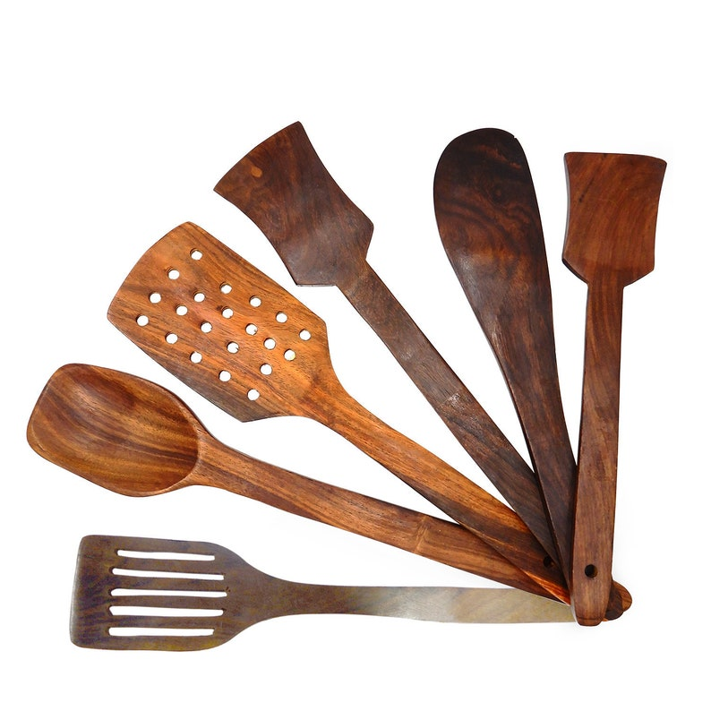 Whopper 6 Piece Wooden Spoons Cooking Utensils Wooden Spoons And Spatula Utensil Set Wood Nonstick Cooking Spoons For Kitchen